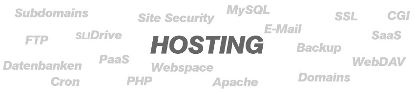 Hosting, FTP, WebDAV, Domain, Webspace, Datenbank, E-Mail, SaaS, PaaS